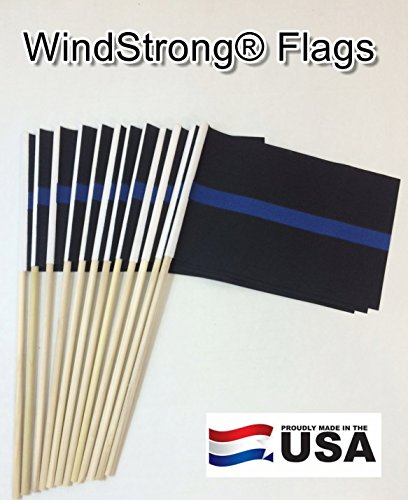 Lot of -12- 4x6 Inch Thin Blue Line Police Hand Held Stick F