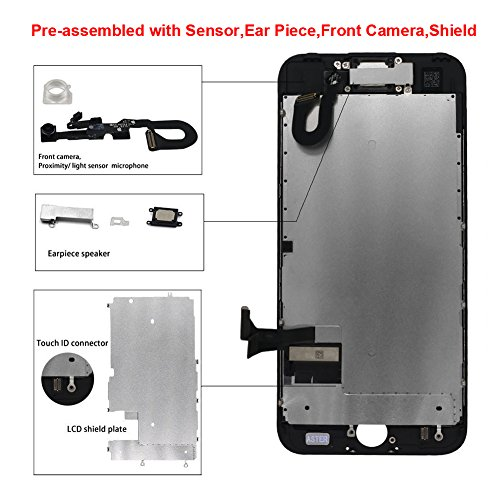 Display Touch Screen LCD Digitizer Assembly with 3D Touch for iPhone 7 Plus (5.5 inch) Replacement (with Front Camera and Sensor + Earpiece Speaker + Shield Plate + Display Frame Adhesive) (BLAC by AiYiA (Image #3)