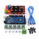 RAMPS 1.4 Controller + MEGA2560 R3 board + 5pcs Soldered A4988 Stepper Motor Drivers + 5pcs Heat Sinks + 19pcs Jumpers with USB Cable For Arduino RepRap 3D Printer Kit