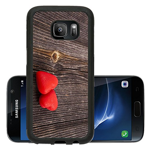 Luxlady Premium Samsung Galaxy S7 Aluminum Backplate Bumper Snap Case IMAGE ID: 23200165 Two Red Heart Candies on crack break wood texture background valentines day card concept