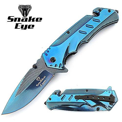 Snake-Eye-Tactical-Heavy-Duty-BLUE-Titanium-Coated-Handle-Assisted-Open-Folding-Pocket-Knife-Self-Defense-Everyday-Carry