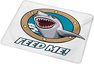 Non-Slip Rectangle Mousepad Shark,Funny Vintage Feed Me Quote with Hungry Hound Shark Head in Ship Window Humor Print,Multicolor 8.3x10.3 inch for Kids