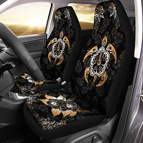 VTH Global Hawaiian Print Turtle Hibiscus Flower Hawaii Car Seat Covers Set of 2 Size Universal Fit
