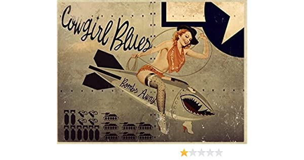 Texas Rose Metal Sign Pinup Girl WWII Airplane Nose Art Vintage Decor