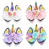 inSowni 6' Big Large Glitter Sequin Bow Unicorn Alligator Hair Clips Barrettes Hairbow for Baby Girls Toddlers Kids Women