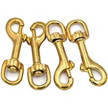 Okones Pack of 4Pcs,5/8'' Inner,2-3/4'' OAL,Heavy Duty Solid Brass Swivel Eye Lobster Clasp Bolt Snap Trigger Hook for Straps Bags Belting Outdoors Tents Pet(5/8''Inner×2-3/4'' Round Eye, BRA0076)