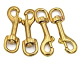Okones Pack of 4Pcs,5/8'' Inner,2-3/4'' OAL,Heavy Duty Solid Brass Swivel Eye Lobster Clasp Bolt Snap Trigger Hook for Straps Bags Belting Outdoors Tents Pet(5/8''Inner×2-3/4'' Round Eye, BRA0076)
