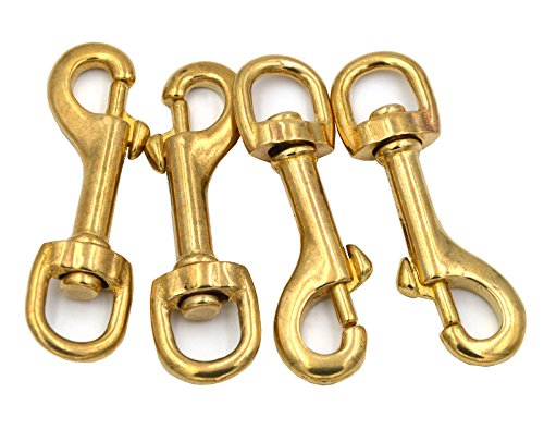 Okones Pack of 4Pcs,5/8'' Inner,2-3/4'' OAL,Heavy Duty Solid Brass Swivel Eye Lobster Clasp Bolt Snap Trigger Hook for Straps Bags Belting Outdoors Tents Pet(5/8''Inner×2-3/4'' Round Eye, BRA0076) - Bolt Snap Hooks