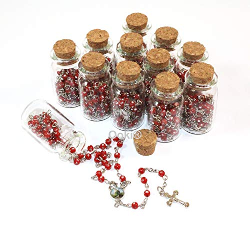 12 pcs Jesus Good Shepherd Rosary in Glass Jar Bottle Beads Red Beaded Rosary Silver Catholic Crucifix Necklace Virgin Mary lot of 12