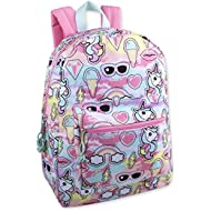 Trailmaker Girls' All Over Printed Backpack 17 Inch With Padded Straps (Unicorns)