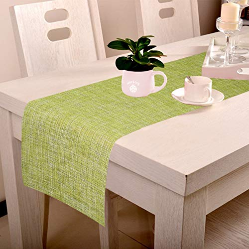(LUSHOMES Green Jacquard Waterproof and Heat Resistant PVC Runner (30 x 180 cms, Pack of 6))