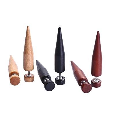6 Piezas in 1 Dilatador Expansor Falso oreja de Madera Natural Pendientes Expansor Fake Negro/Madera/Rojo 8mm Huacan: Amazon.es: Joyería
