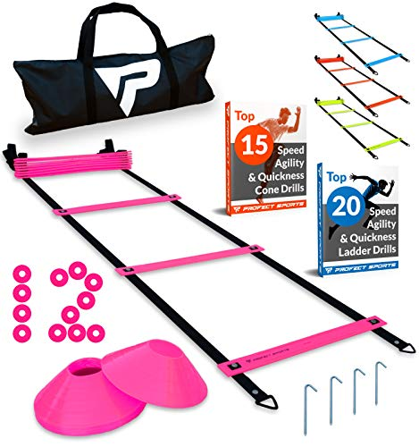 Pro Agility Ladder and Cones - 15 ft Fixed-Rung Speed Ladder with 12 Disc Cones for Soccer, Football, Sports Training - Includes Heavy Duty Carry Bag, 4 Metal Stakes, 2 Agility Drills eBooks (Pink)