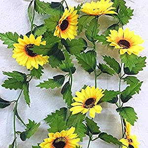240cm Fake Silk Sunflower Ivy Vine Artificial Flowers with Green Leaves Hanging Garland Garden Fences Home Wedding Decoration 86