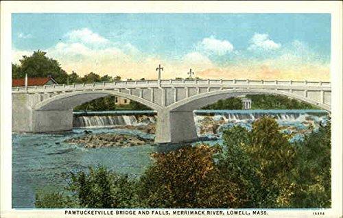 Pawtucketville Bridge and Falls, Merrimack River Lowell, Massachusetts Original Vintage Postcard