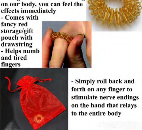 Accu-Ring Accupressure Massage Bague en belle poche de cadeau