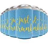 Drunk in Love + JUST Drunk 11 Pack Bachelorette Party Favor Can Coolers Plus Bonus Photo Game   10 Tiffany Mermaid Blue, 1 White Bride, Gold Ink   Decorations, Supplies, Gifts