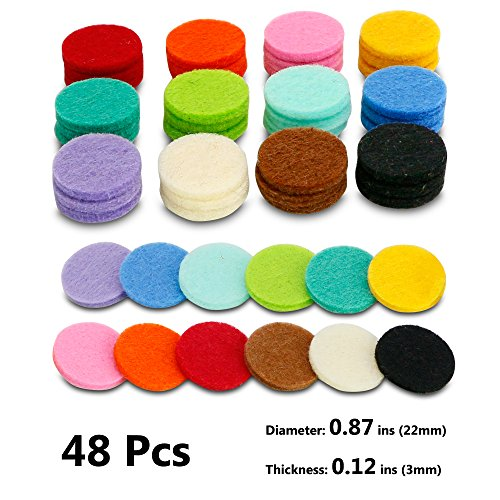 48 Pcs Essential Oil Diffuser Locket Necklace Refill Pads/Car Diffuser Aromatherapy Diffuser Necklace Replacement Pads for 30mm Car Diffuser vent Highly Absorbent for Aroma Diffuser Pendant Necklace