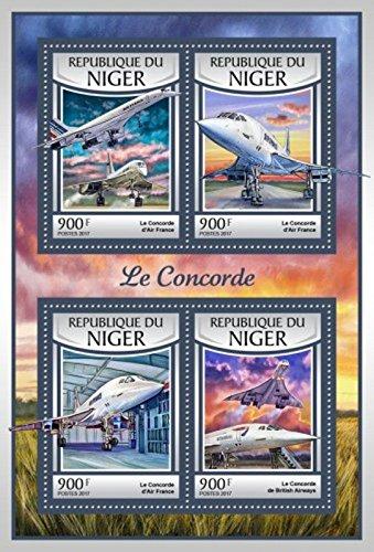 Concorde Jet (Niger - 2017 Concorde Jet Airliner - 4 Stamp Sheet - NIG17118a)