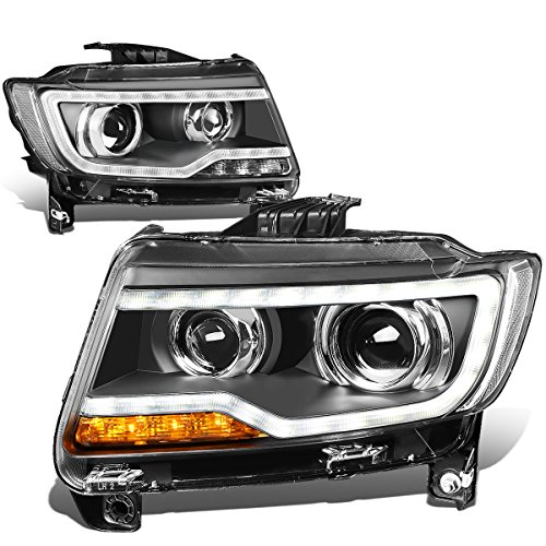 For Jeep Compass 1st Gen Pair of MK49 Black Housing Clear Corner LED DRL Projector Headlight Lamp (Compass Jeep Bulb)