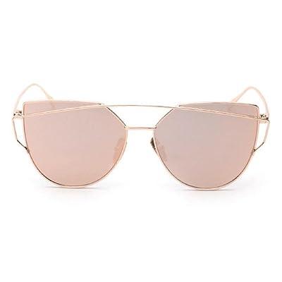Lunettes de Soleil,Youngii Classiques Femmes deux poutres miroir de cadre en métal lunettes de soleil (D)