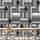 Ohcde Dheark 3D Wall Wallpaper Living Room Silver Metal Style Mosaic Restaurant Cafe Bar Ktv Wall Covering Wall Murals Wall Paper Home Decor200cmX140cm