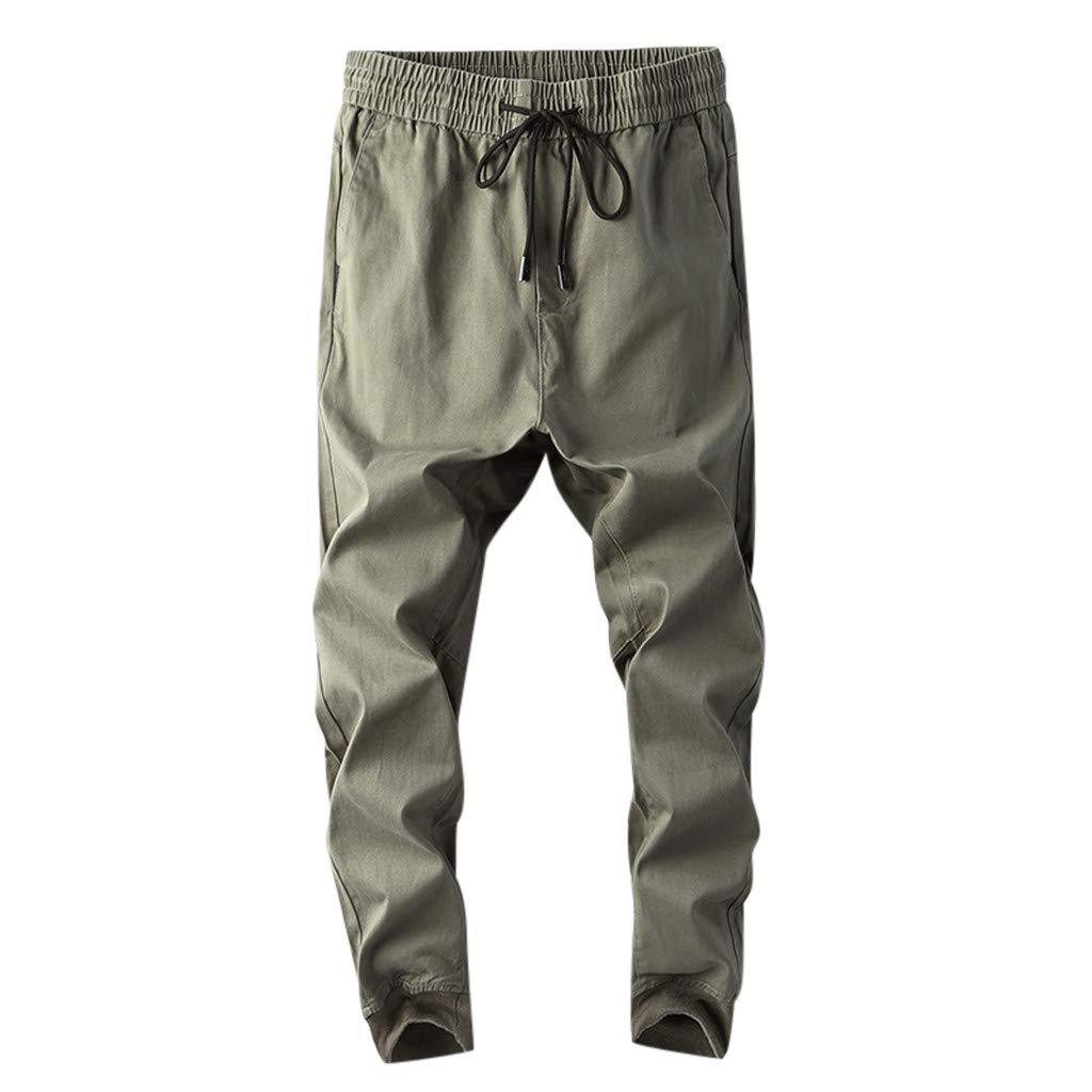Aleola Men's Casual Pure Color Outdoors Pocket Beach Work Trouser Cargo Pant (Green,38) by Aleola_Men's Pants