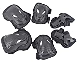 Skating Skateboard Knee Pads Elbow Palm Protector, Eruner Cycling BMX Biking Rollerblading MTB Protective Knee Supports Elbow Wrist Guards for Adult 6 Pcs in 1 Set, Cool Black