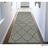2'7 X 7' Light Grey Trellis Design Royal Fancy Indoor Outdoor Jute Backing Runner Rug, Polypropylene Contemporary Natural Neutral Color Flatweave Decorative, Living Room Indoor Entryway Accent Carpet