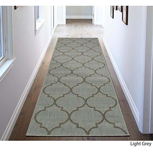 2'7 X 7' Light Grey Trellis Design Royal Fancy Indoor Outdoor Jute Backing Runner Rug, Polypropylene Contemporary Natural Neutral Color Flatweave Decorative, Living Room Indoor Entryway Accent Carpet by MN