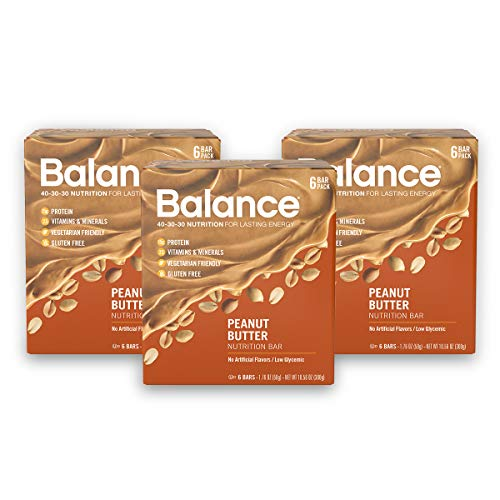 Balance Bar, Healthy Protein Snacks, Peanut Butter, 1.76 oz, Pack of Three 6-Count Boxes