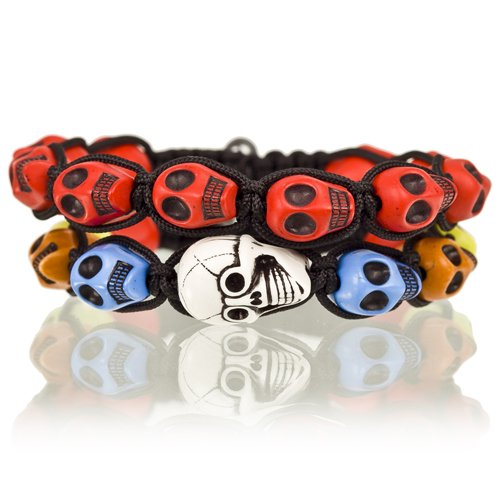 2 Piece Pair for Boys and Girls Shamballa Skulls & Cords Bracelets - Red, Janeo Jewels (Halloween Costumes With Next Day Delivery)