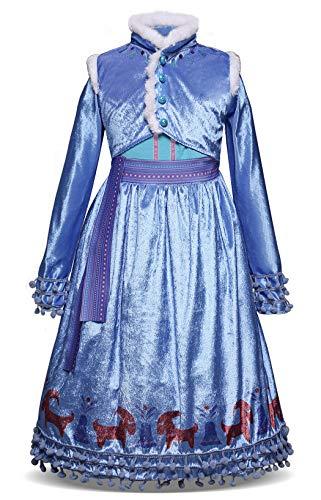 Cotrio Anna Dress Up Costumes Girls Halloween Outfit Cosplay Birthday Party Fancy Dresses (110, 3-4Years, Fake-Two-Pieces)