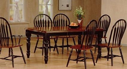 Amazon.com: 7pc Country Style Black Dark Maple Finish Dining ...