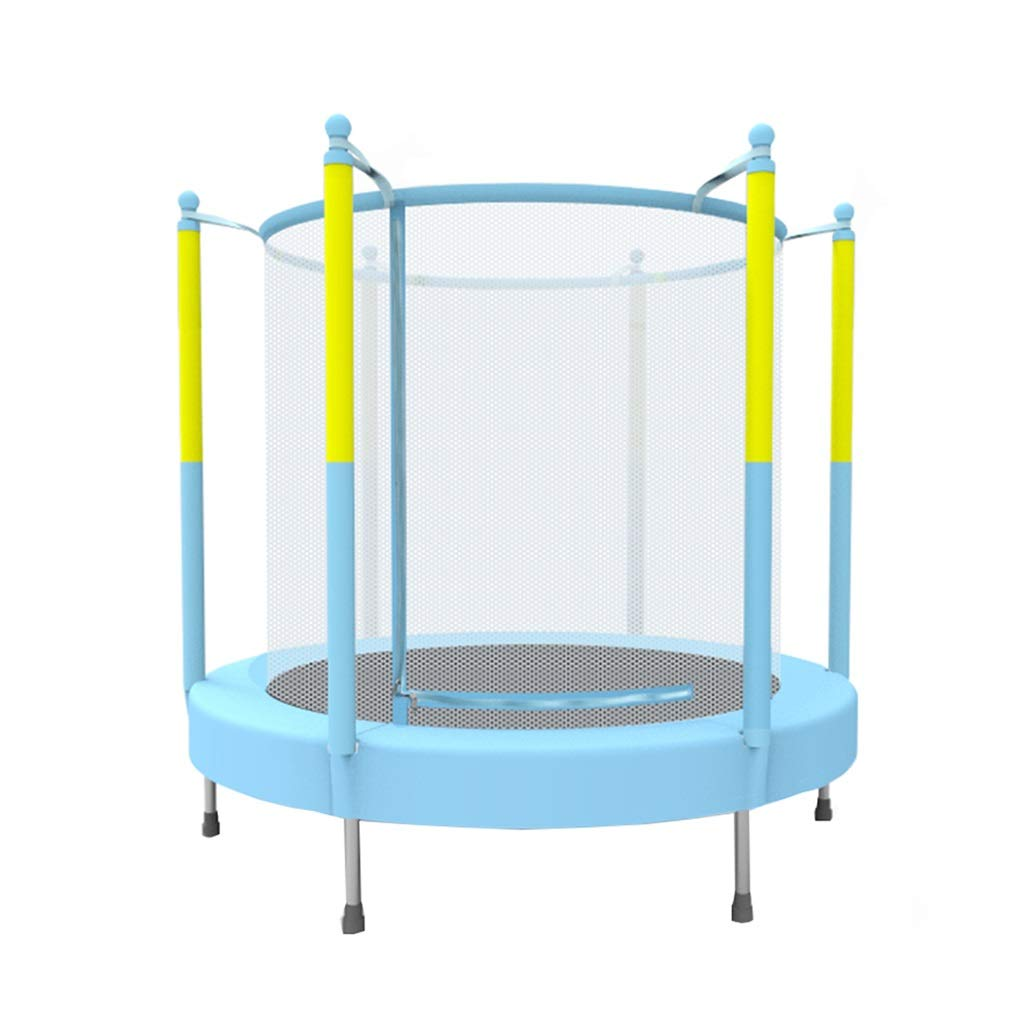 Gartentrampoline Trampolin Kinder Indoor Trampolin Home Kindergarten Trampolin mit Schutznetz Kinderspielzeug, Trampolin (Farbe : Blau, Größe : 140  140  140cm)