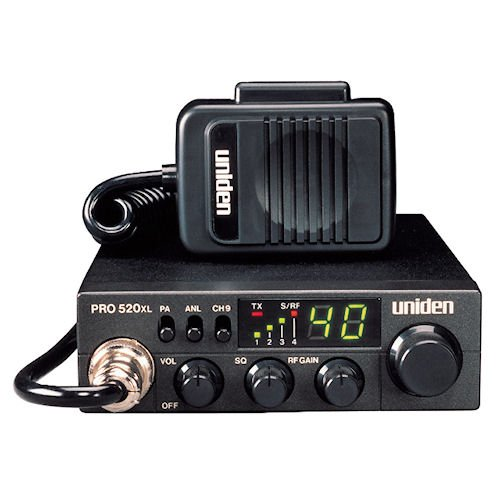 Uniden PRO520XL Pro Series 40-Channel CB Radio. Compact Design. ANL Switch and PA/CB Switch. 7 Watts of Audio Output and Instant Emergency Channel 9. – Black