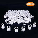 G2PLUS 100 PCS Disposable Plastic Nail Art Tattoo Glue Pallet Holder Eyelash Extension Rings Adhesive Pigment Holders Ink Cup Rings Makeup Application Tools (0.66'' x 0.79'' - Large Size)