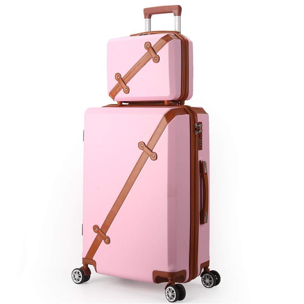 スーツケース ポータブル回転セットライトとロックハードシェル旅行荷物トロリーケース列サイレントローテーター多方向航空機搭乗 圧縮服スーツケース (色 : ピンク, サイズ : 20in+14in) B07SY8438H ピンク 20in+14in