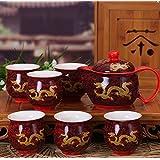 Yellow Dragon rouge chinois en porcelaine de 7 pièces à thé