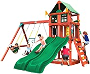 Gorilla Playsets 01-1057 Playmaker Deluxe Wooden Swing Set with Vinyl Canopy Roof, Dual Wave Slides, and Rock