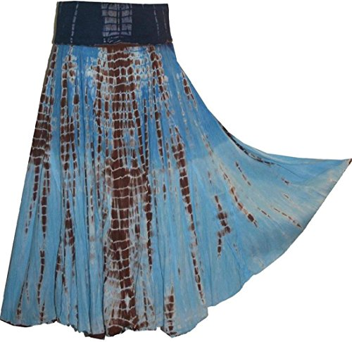 Agan Traders 61 SK Cotton Tie Dye Gypsy Skirt (Large, Blue Brown) ()
