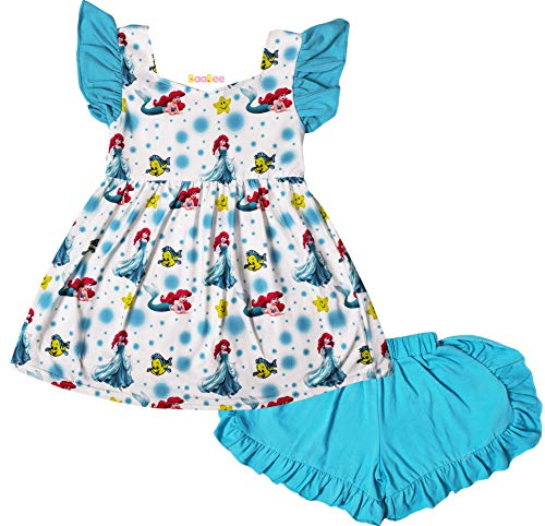 Boutique Baby Girls Cartoon Mermaid Princess Top Shorts for sale  Delivered anywhere in USA