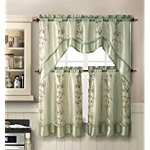 Daphne Embroidered Kitchen Curtain Set By Victoria Classics - Assorted Colors (Sage)