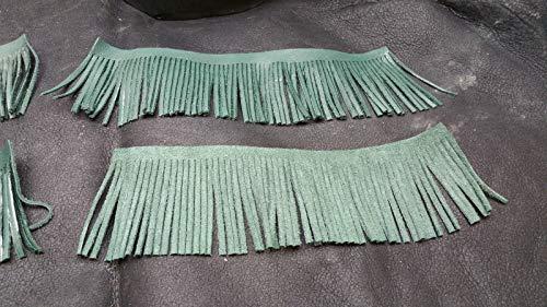 Leather Fringe - Genuine Leather Tassels & Trim 3'' Long 10'' Wide - Green!