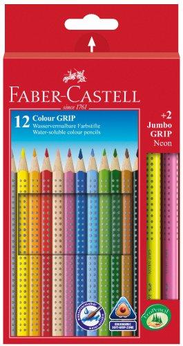 Faber-Castell 201170 - Farbstifte Colour, 12-er Etui und 2 Neon Farbstifte Jumbo Grip
