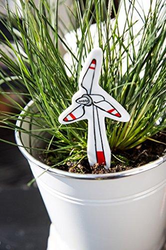 (Unique Porcelain Plant Labels for Gardens & Pots featuring Windmill)