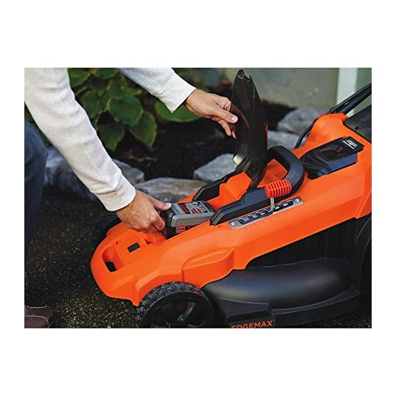 BLACK+DECKER 40V MAX Cordless Lawn Mower, 20-Inch (CM2043C) 5 Two 40V max Lithium ion batteries are included for twice the runtime Mulching, bagging and side discharge of grass clippings gives you 3-in-1 versatility Mow right up to edges and spend less time trimming thanks to the edgemax design