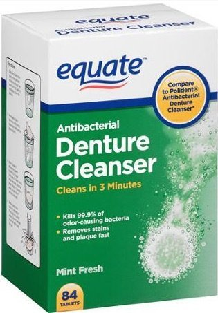 Equate Antibacterial Mint Fresh Denture Cleanser Tablets, 84 count