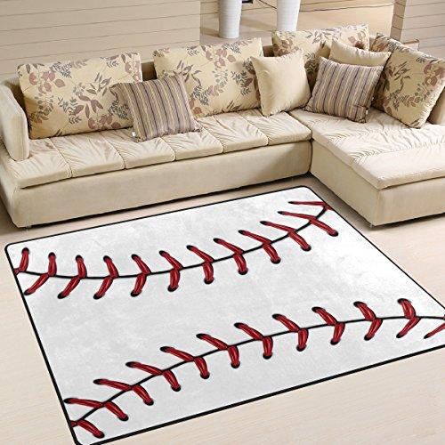 Naanle Sport Baseball Lace Non Slip Area Rug for Living Dinning Room Bedroom Kitchen, 5' x 7'(58 x 80 Inches), Sport Nursery Rug Floor Carpet Yoga ()