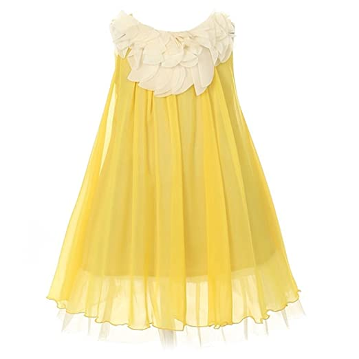 00ed41d9ab Amazon.com  Kid s Dream Yellow Chiffon Floral Lace Bodice Easter ...